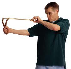 man with slingshot