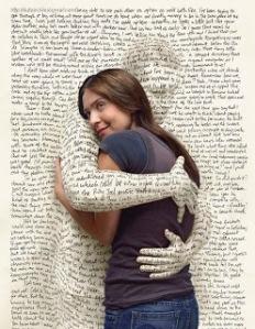words hugging woman
