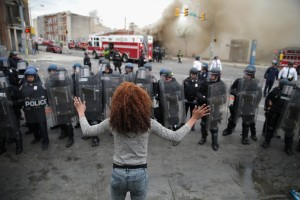Baltimore riots April 2015 woman faces police