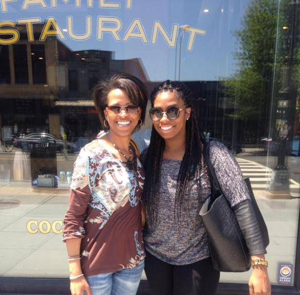 VATG founder Nicole D. Hayes and VATG digital media coordinator Destiney Bishop, enjoy a perfect weather day, brunch and fellowship in DC on May 22, 2015.