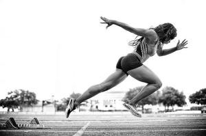 Fit female track runner