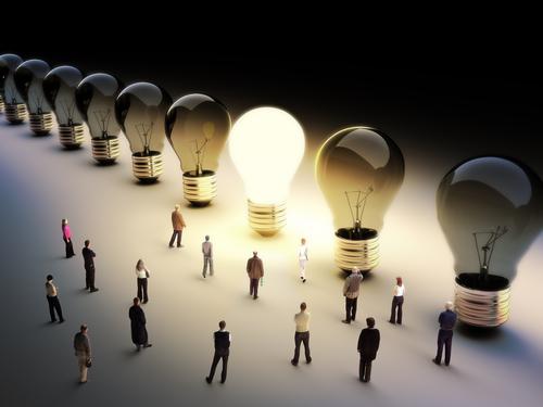 light bulb people gathered around